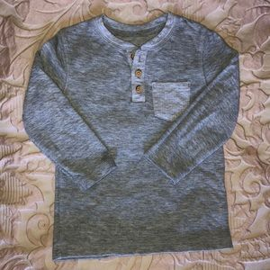 Toddler boy grey long sleeve henley T-shirt